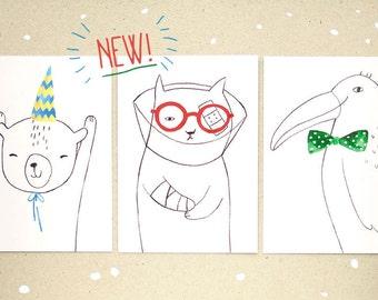 Postcard set - happy birthday bear - get well soon cat - hello my friend bird