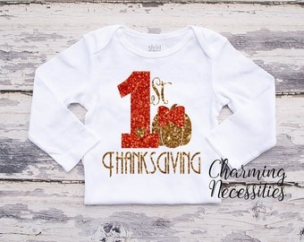 Fall Thanksgiving Baby Girl Shirt, Coming Home, Toddler Girl Shirt, My First Thanksgiving Pumpkin Glitter TopCharming Necessities