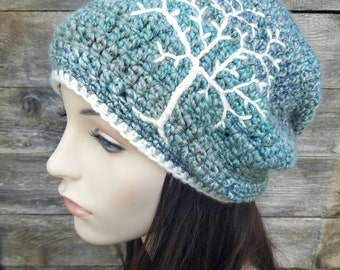Womens Slouchy Hat with Tree of Life, Women's Slouchy Beanie, Dread Hat, Slouch Hat, Womens Winter Hat, Blue, Aqua, and Cream, MADE TO ORDER