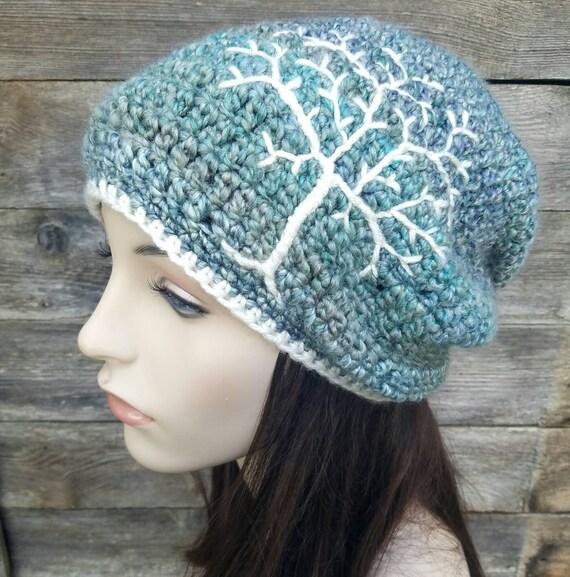 Womens Slouchy Hut mit Lebensbaum Frauen-Slouchy Beanie