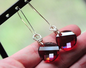 Swarovski Crystals Sterling Silver kidney shape ear wire earrings faceted round red rusty sienna bead dangle charm