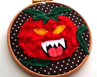 Custom Terrible Tomato Hoop - B Movie Horror Family Portrait-gifts for horror fans-mancave art-unique-portrait-made to order-funny-humor