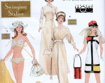 """Sewing Pattern Swinging Sixties Style Clothing for 11.5"""" Fashion Doll, UNCUT, Simplicity 9913"""