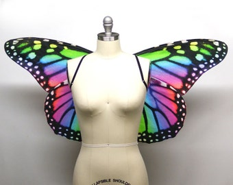 Rainbow Monarch Butterfly Costume Wings Halloween, Butterfly Wings, Fairy Wings