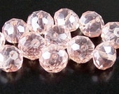 Glass Bead 12 Rondelle Faceted AB Pink 10mm x 7mm (1014gla10n1)