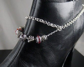 "Boot Jewelry Bracelet Silver Candy Topper Chain Pendant Glass European Beads Charm 16"" long Adjustable length (1022boo07-1)"