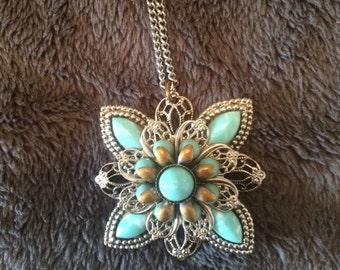 Vintage faux turquoise pendant. Boho.