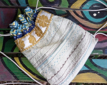 Hippie Backpack, Hippie Back Pack, hippie back sack, festival bag, boho back pack, drawstring back pack,  recycled fabric, small, D41,  hobo