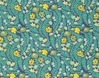 Tula Pink Fabric by the Yard - Eden - Wildflower in Sapphire - Quilter's Cotton