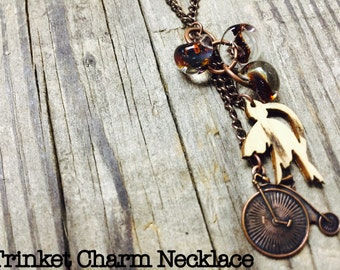 Hand-Blown Glass, Bird and Bicycle on Copper Chain Necklace