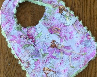 Pink and Green Beautiful Enchanted Fairy Minky Baby/Toddler Bib