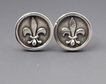 Loyalty- Fleur De Lis Stud Post Wire Earrings