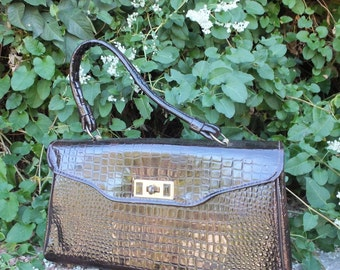 Vintage 1950s/60s Simulated Dark Brown Patent Leather, Faux Snakeskin, Faux Leather Handbag, Ladies Handbag, Top Handle bag