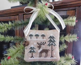 Completed Cross Stitch Reindeer Pinkeep, Shabby Chic, Primitive Folk Art Pin Cushion, Primitive Farmhouse Christmas Decoration