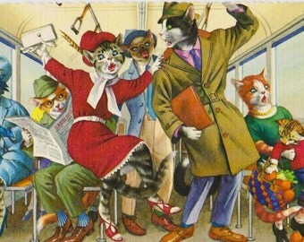 Mainzer cats postcard, Riding the subway. Mainzer dressed cats vintage postcard no. 4733, anthromorphic