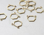 8pcs of  Raw Brass Hand Soldered Hexagon - Charm - Honey Comb - Two Loop 12mm (3207C-N-269)
