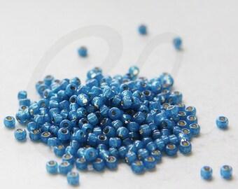 20 Grams Japanese Miyuki 8/0 Seed Bead - Denim Blue S/L Dyed Alabaster - 3mm (8-0648)