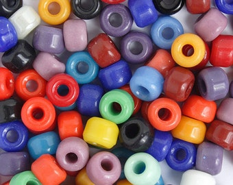 100 Pieces Czech Glass Crow Beads - MULTI OPAQUE 9mm (PG14751)