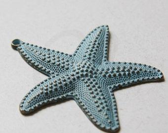 2 Pieces Patina Tone Base Metal Pendants-Starfish 63x67mm (5433Y-N-262)