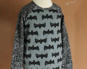 Boys' Colorblocked Raglan Batman Tee - Size 6 - Ready to Ship - Custom Knit Fabrics