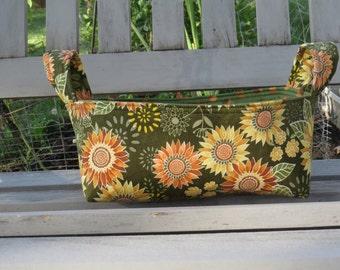 Fabric Basket Bin, Storage, Organization, Home Decor, Gift Bin, Fabric Bin, Fall, Sunflowers, Small Size