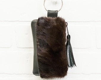 recycled black leather keychain, recycled, fur, wallet, coin purse, key ring, key pouch, tassel, card holder, handmade, upcycled, stacylynnc