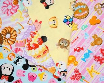 Disney licensed  fabric Minnie Mouse and Tsum tsum   print  9.6 inches each piece (ns04) Printed in Japan ©Disney