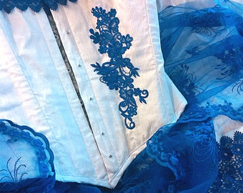 Juliet - Custom made White raw silk with royal blue lace bridal gown with steel boned corset