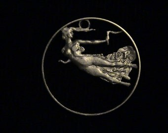 ITALY - cut coin pendant - Nude Flying Woman and Torch - 1921