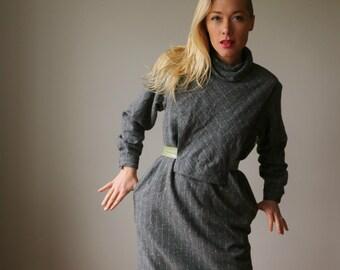 1980s Modern Gray Edge Dress~Size Medium