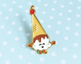 Ice Cream Cone Enamel Pin - dessert food lapel