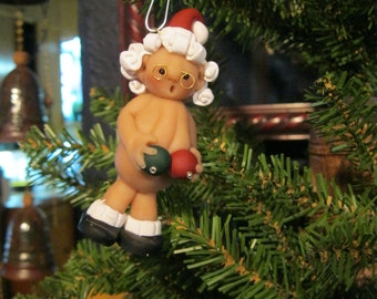 Naughty Naked Mrs Santa Claus with balls-Unique, Funny and Jolly Santa Christmas Ornament-Secret Santya-Naughty Santa-Naked Santa