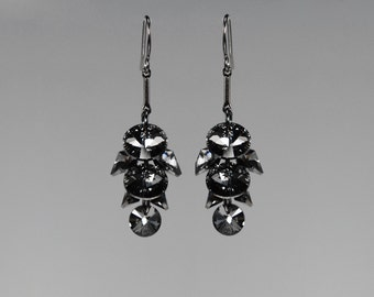 Swarovski Crystal Earrings, Gunmetal Earrings, Silver Night Swarovski, Drop Earrings, Crystal Cluster Earrings, Crystal Jewelry