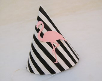 NEW Black & White Stripe Pink Flamingo Party Hat - flamingo birthday party, pool party, tropical party