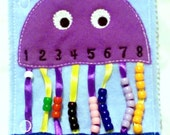 SALE Quiet book - Jellyfish bead counting - busy book - educational game -travel book - activity book - counting game - kids counting toy #5