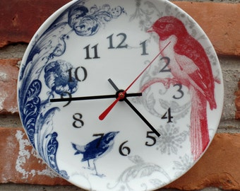 """Stoneware 8"""" Plate Clock with Red Bird blue Bird and Floral Pattern Custom Made Plate Clock  NEW"""