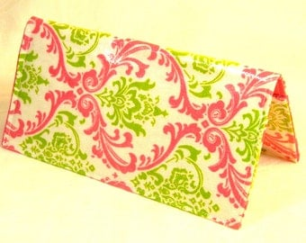 Checkbook Cover, Receipt Holder, Coupon Wallet, Ready to Ship, Hot Pink Lime Damask Waterproof