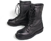 VTG 90's Thick Black Leather Combat Boots size 7 Women's Lace Up Calf High Army Punk Rock Boots size 4 1/2 Mens Grunge Hiking