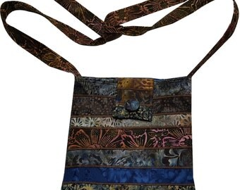 Batik Purse in Brown and Navy Blue with Adjustable Straps