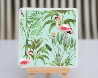Coaster - Fused glass - Flamingo - Aqua