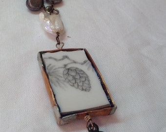 Hand made bezel with a piece of pine cone China necklace