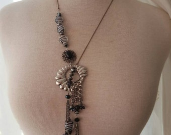 Of The Tribe lariat necklace in silver with black and white accents OOAK