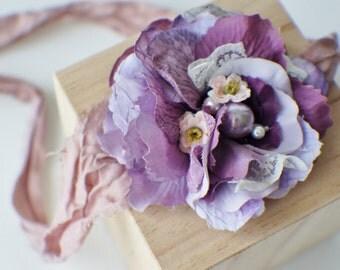 Flower Headband, Newborn TieBack, Lavender Headband, Flower TieBack, Tie Back Headband Newborn Photo prop