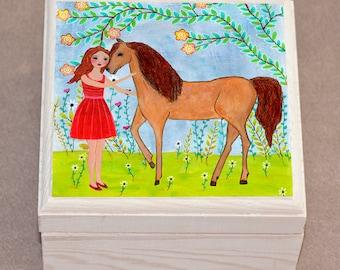 Jewelry Box, Girl and Horse Jewelry Box , Wooden Trinket Box, Horse Gift Box