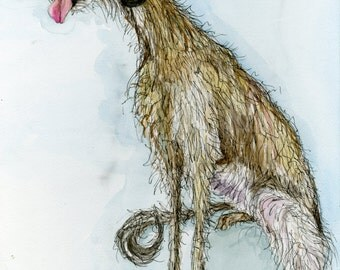Dog Art Lurcher Print - 5 x 7 inch