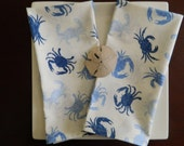 Blue Crabs Napkins.  Seafood Napkins. Set of 4 Large Napkins. Hostess Gift. Barbeque, Picnic and Clambake Napkins.