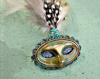 Pin with Tiny Mask and Feather Plume, Rustic Masquerade Inspired Assemblage Brooch: Mardi Gras