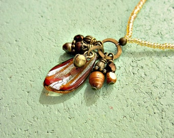 Glass Pendant Necklace with Beaded Cluster: Ember