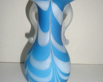 Nailsea Blue Satin Pulled Feather ~ Draped~ Vase