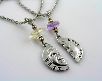 Matching Couple Necklace with 'Love You Best' Engraved Pendants, Partner Necklaces, Boyfriend Girlfriend Gift Idea, N1584